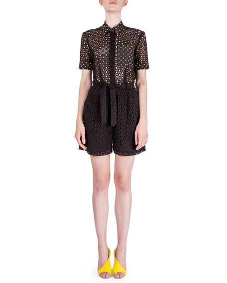 Mary Katrantzou Short-Sleeve Broderie Anglaise Playsuit, Black