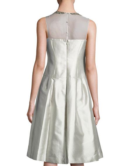 Sleeveless Taffeta Illusion Cocktail Dress, Platinum