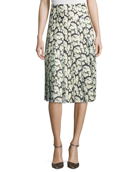 Adam Lippes High-Waist Floral-Print Combo Skirt, Mini Dahlia