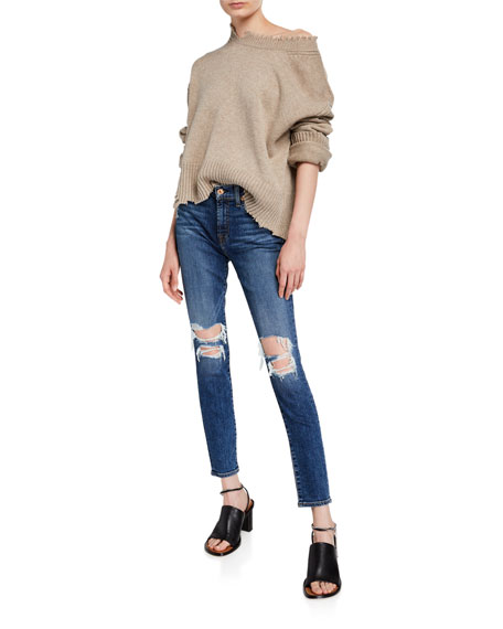 7 For All Mankind The Ankle Skinny-Fit Destroyed Jeans