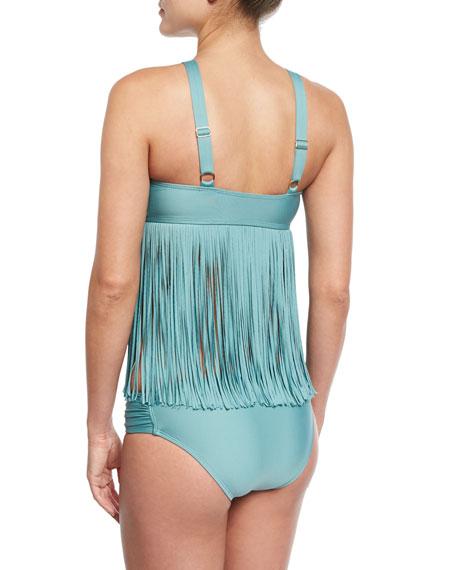 Fringe Benefits High-Neck Tankini Swim Top, Blue