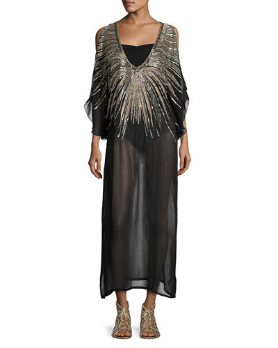 Show Stopper Embellished Caftan Maxi Tunic, Black