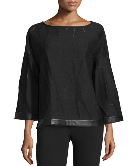 Lafayette 148 New York Relaxed Patterned Cropped Blouse,