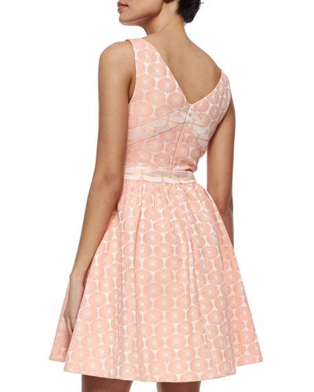 Edie Floral Fit & Flare Dress, Melon