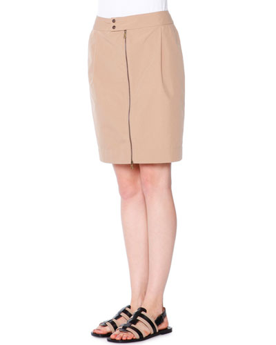 Tech-Canvas Zip-Front Skirt, Chino
