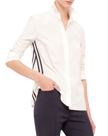 Long-Sleeve Mesh-Inset Blouse, Cream