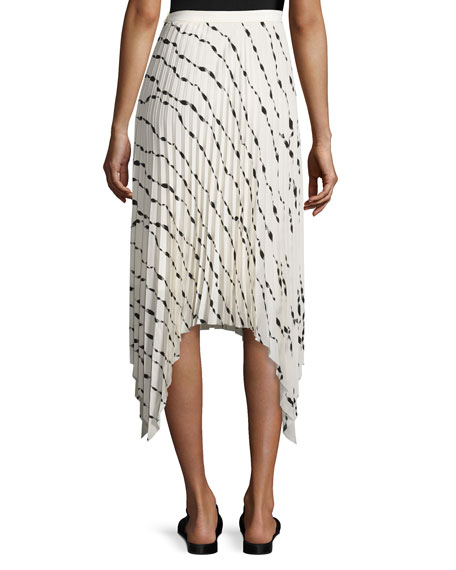 Pleated Printed Silk Midi Skirt, White