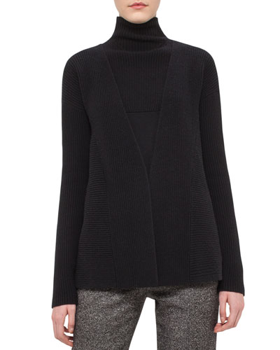 Ribbed A-Line Cardigan, Black