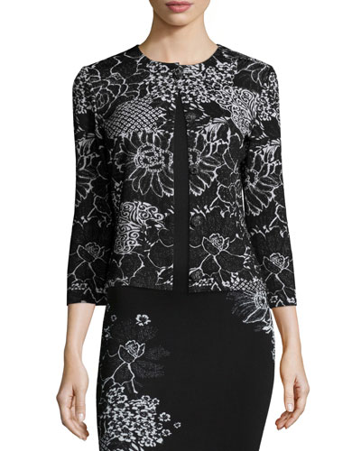 Wildflower Jacquard 3/4-Sleeve Cardigan, Caviar/Bianco