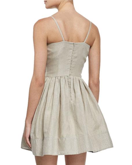 Sleeveless Bow-Front A-Line Linen Dress, Juta