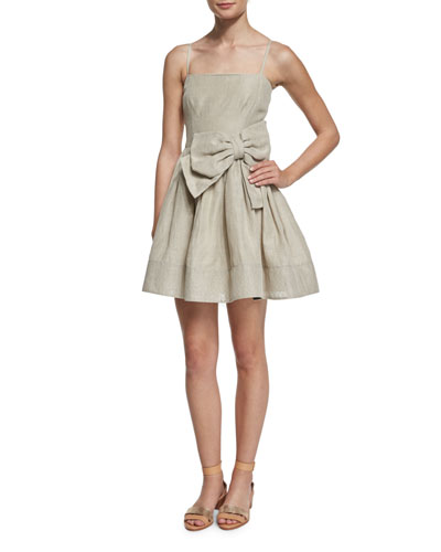 Sleeveless Bow-Front A-Line Linen Dress, Juta