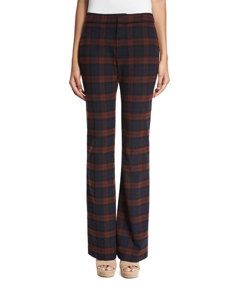 Plaid Flare Trousers, Red/Midnight
