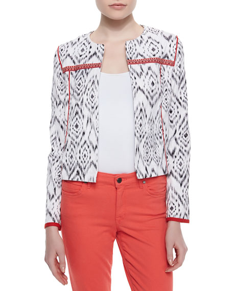Ikat-Print Stretch-Knit Jacket, Black/White