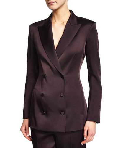 Beya Double-Breasted Jacket, Eggplant