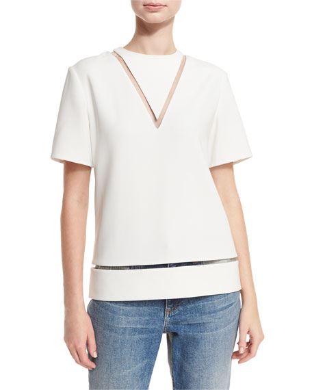 Sheer-Inset Short-Sleeve Boxy Blouse, Bone