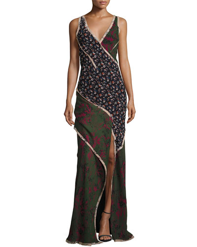Sleeveless Mixed-Print Chiffon Gown, Multi