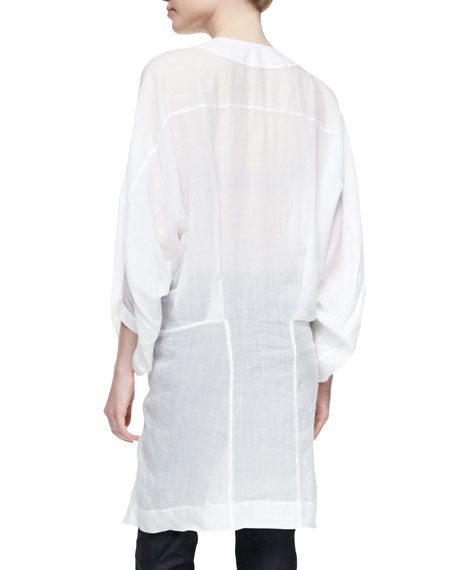 Three-Quarter Full-Sleeve Tunic, White