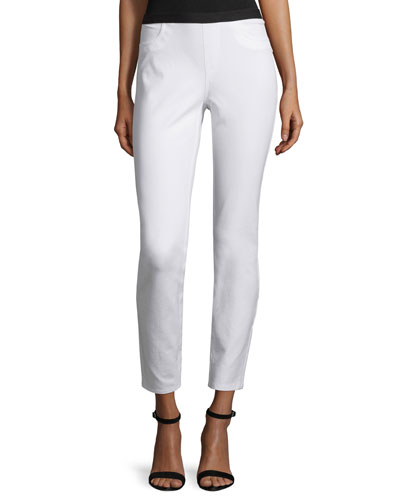 Elastic-Waist Slim-Leg Ankle Pants, White