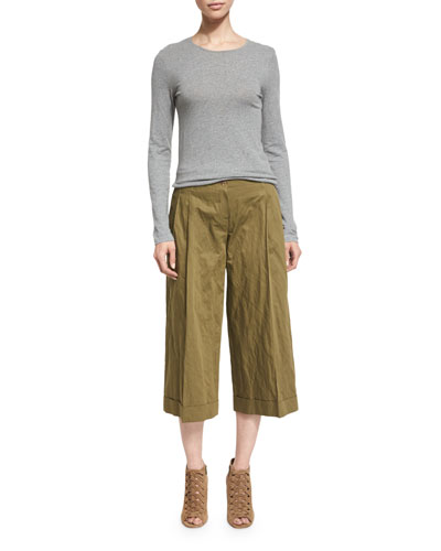 Pleated-Front Wide-Leg Cropped Pants, Juniper