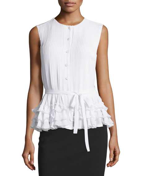 Escada Sleeveless Button-Front Belted Blouse, Ivory
