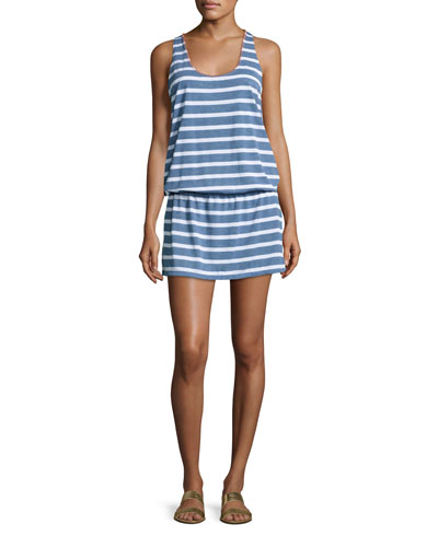 Cottage Striped Chambray Coverup Dress