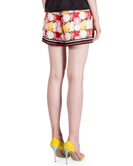 Floral-Print Drawstring-Waist Shorts, Rose/Fuchsia