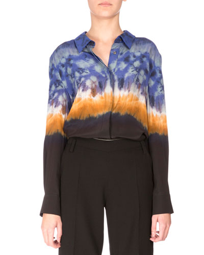 Adams Long-Sleeve Tie-Dye Blouse, Ceramic Blue