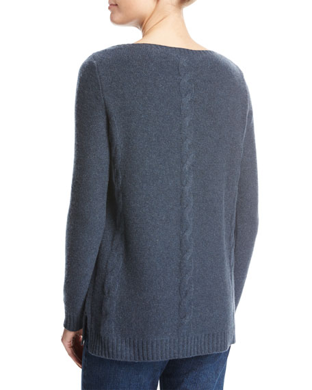 Kimberly Baby Cashmere Cable-Knit Sweater, Blue Metallic