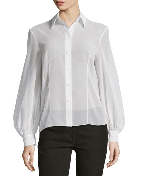 Bishop-Sleeve Button-Front Blouse, Optic White
