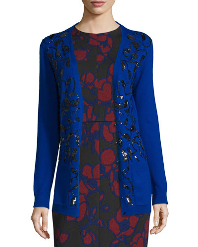 Sequin-Embellished Long Cardigan, Royal