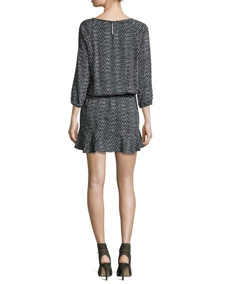Arryn Printed 3/4-Sleeve Dress, Black