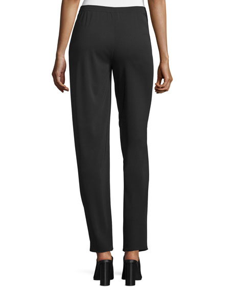Narrow-Leg Pull-On Pants, Black