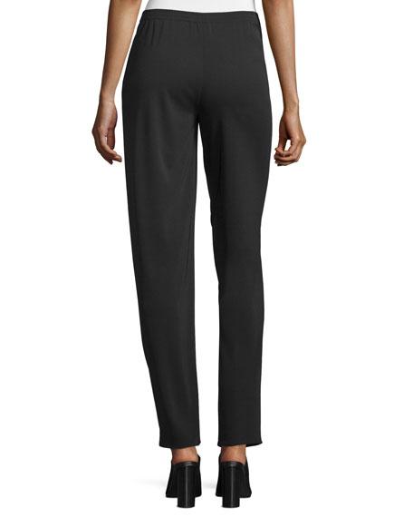 Narrow-Leg Pull-On Pants, Black