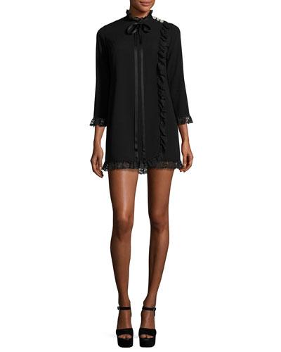 Lace-Trim Crepe Babydoll Dress, Black