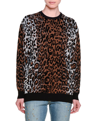 Knit Leopard-Print Sweatshirt Top Reviews