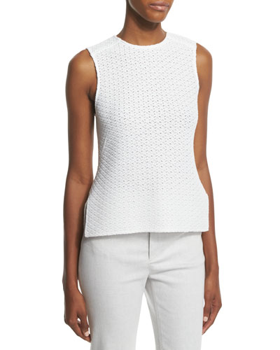 Sleeveless Knit High-Low Top, White