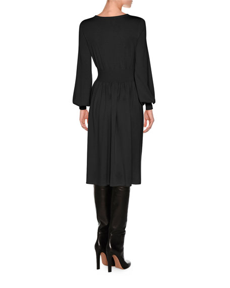 Knit Bell-Sleeve Merino Wool Dress, Black