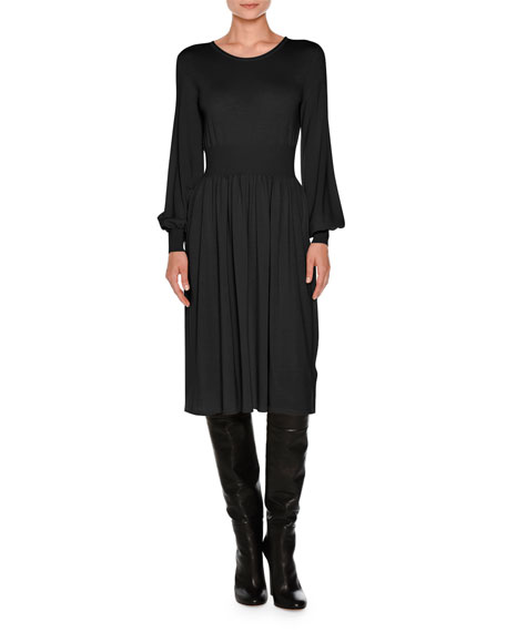 Agnona Knit Bell-Sleeve Merino Wool Dress, Black