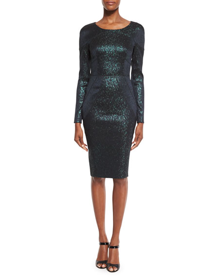 Talbot Runhof Loft Metallic Long-Sleeve Sheath Dress, Green