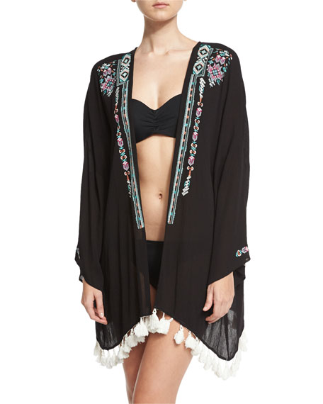 Ella Moss Swim The Wanderer Embroidered Kimono Coverup,