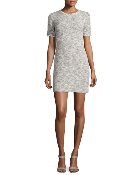 Nicole Miller Short-Sleeve Tweed Sheath Dress