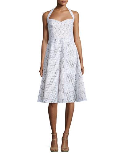Halter-Neck Eyelet Dress, Optic White
