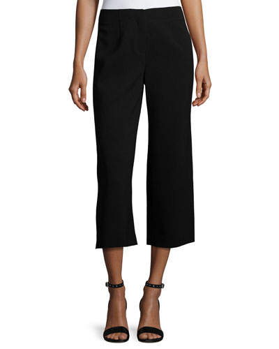 Finesse Crepe Cropped Pants, Black
