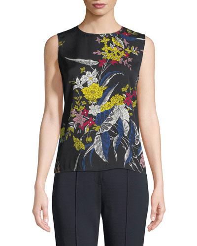 Floral-Print Silk Shell Top