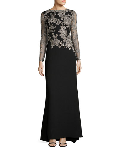 Long-Sleeve Lace-Embellished Combo Gown