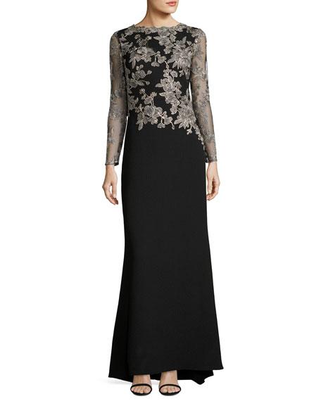 Tadashi Shoji Long-Sleeve Lace-Embellished Combo Gown