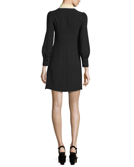 Long-Sleeve Silk Crepe Shirtdress, Black
