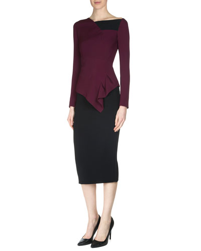 Achra Long-Sleeve Top, Burgundy/Black