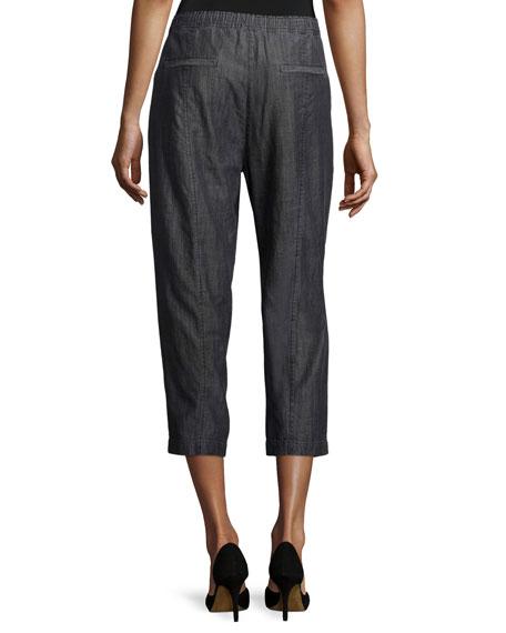 Tencel® Denim Crop Pants, Black, Plus Size