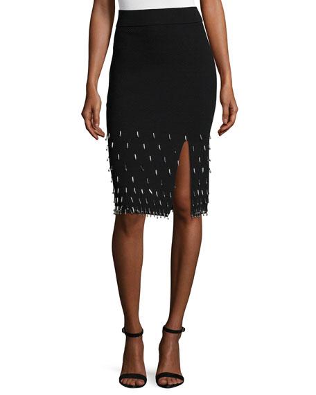 Jonathan Simkhai Beaded Knit Pencil Skirt